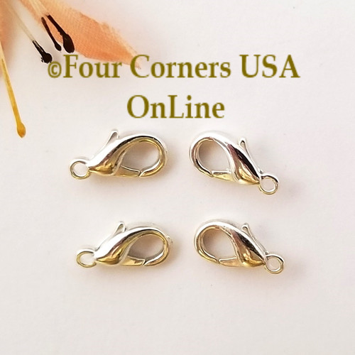 Lobster Clasp Silver Plated Jewelry Component 50 Pieces Four Corners USA OnLine Jewelry Making Beading Craft Supplies