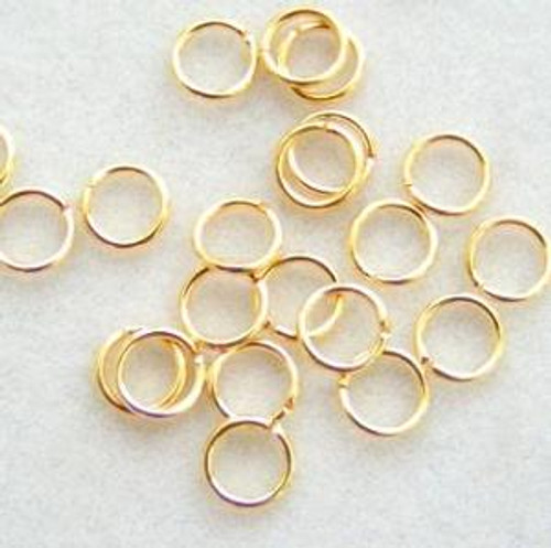 5mm Gold Plated Smooth Round 22 gauge Open Jump Rings - 100 pieces (PF-09070)