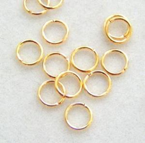 6mm Gold Plated Smooth Round 20 gauge Open Jump Rings - 100 pieces