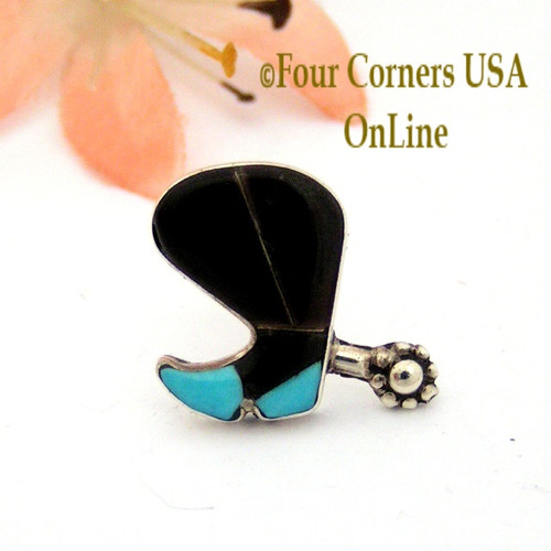 Jet Black Cowboy Boot and Spur Sterling Silver Inlay Lapel or Hat Pin NAM-09101 Four Corners USA OnLine Native American Jewelry