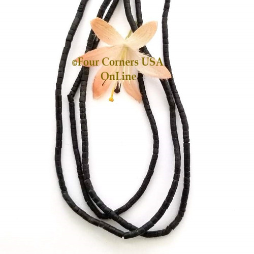 Black Coconut 2mm Heishi 24 inch Bead Strand Four Corners USA OnLine Jewelry Making Beading Craft Supplies
