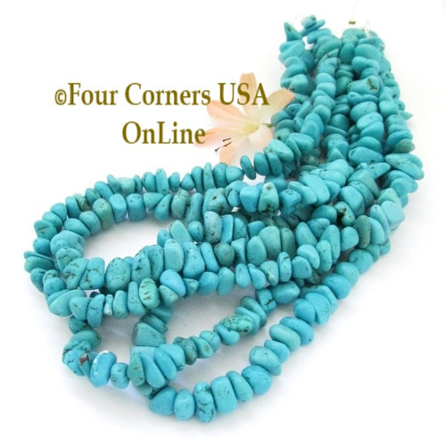 Turquoise Dyed Magnesite Tumbled Medium Chip 16 inch Bead Strand Four Corners USA OnLine Jewelry Making Beading Crafting Supplies