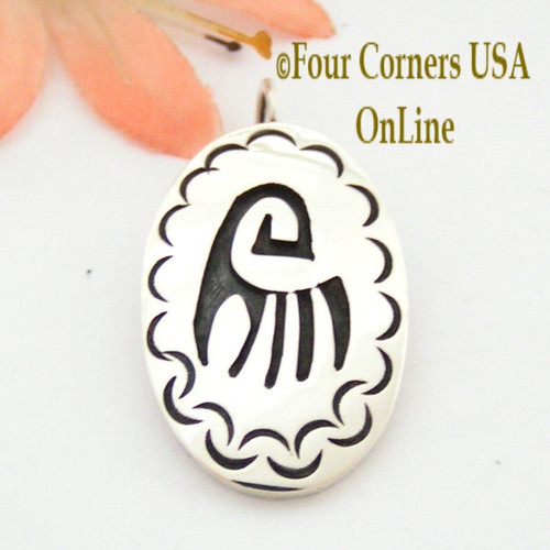 Hopi Overlay Bear Paw Sterling Silver Pendant Handcrafted by Silversmith Clement Honie Four Corners USA OnLine Native American Jewelry NAP-09250