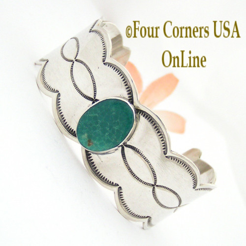 Turquoise Wide Scalloped Sterling Cuff Bracelet Four Corners USA OnLine TQ Artisan Jewelry NAP-09257