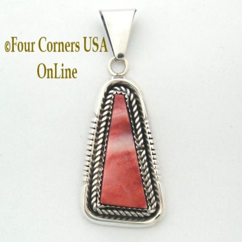 Red Spiny Oyster Shell Pendant Navajo Silversmith Ray Begay On Sale Now Four Corners USA OnLine Native American Silver Jewelry NAP-09266