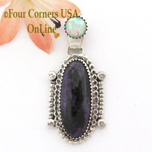 Charoite Fire Opal Sterling Pendant by Navajo Artisan Running Bear Four Corners USA OnLine Native American Silver Jewelry NAP-09277