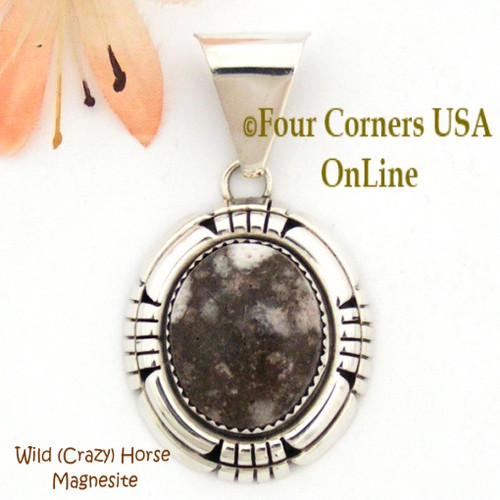 Crazy (Wild) Horse Magnesite Sterling Silver Pendant Navajo Ray Begay Four Corners USA OnLine Native American Jewelry Special Buy Final Sale
