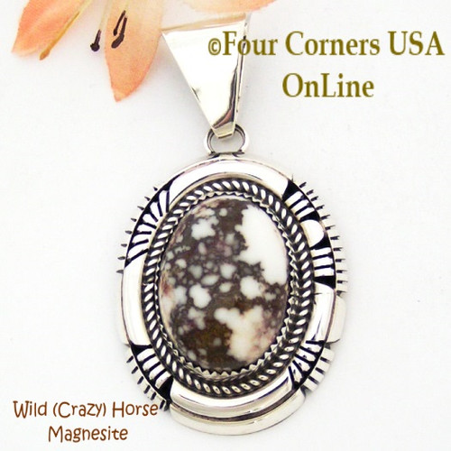 Wild (Crazy) Horse Sterling Silver Pendant Navajo Ray Begay On Sale Now NAP-09283 Four Corners USA OnLine Native American Jewelry