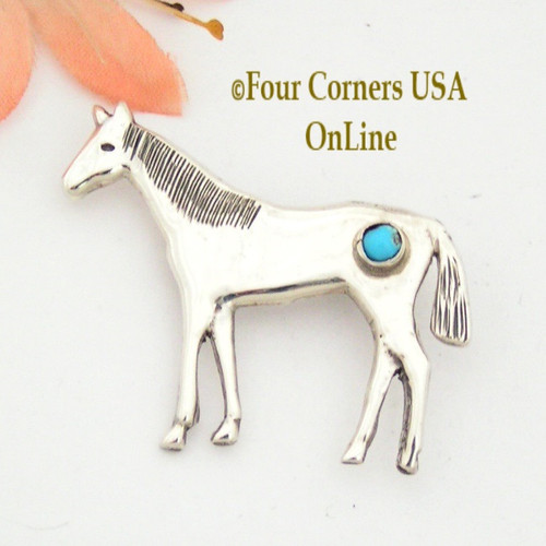 Horse Sterling Pin Brooch with Sleeping Beauty Turquoise Cabochon Four Corners USA OnLine Native American Silver Jewelry NAP-09244