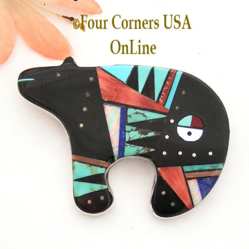 Native American Inlay Bear Sunface Pin Pendant Zuni Artisan Germaine Smith NAP-09247 Four Corners USA OnLine