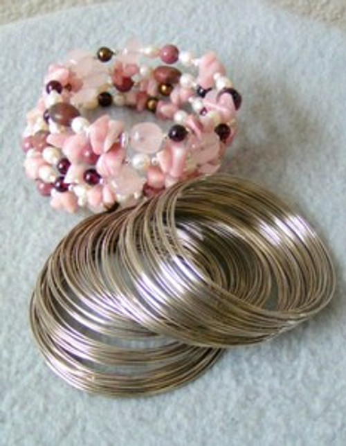 Beading Memory Wire for Bracelets Approximately 100 loops Steel Closeout Final Sale (MEM-225-BR)