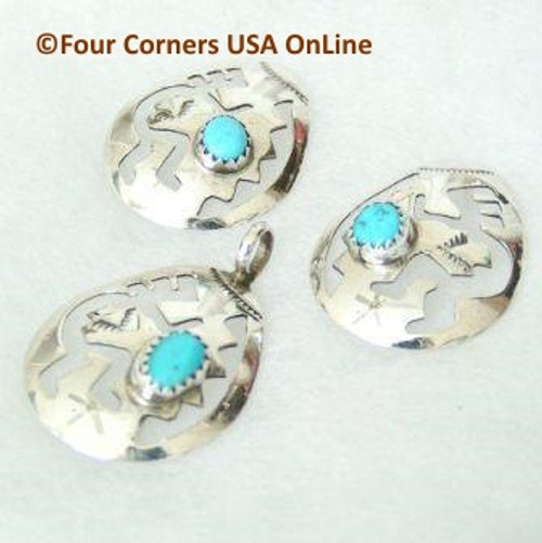 Sleeping Beauty Turquoise Kokopelli Earring Pendant Set Native American Navajo Silver Jewelry (NAN-09017) Four Corners USA OnLine Navajo Silver Jewelry