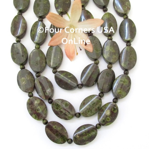 Epidote 18mm Convex Oval 16 Inch Bead Strand with 4mm Spacers G-EP-0004 Four Corners USA OnLine Jewelry Making Beading Crafting Supplies