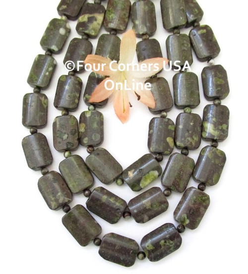 Epidote 18mm Convex Rectangle 16 Inch Bead Strand with 4mm Spacers G-ZB-0005 Four Corners USA OnLine Jewelry Making Beading Crafting Supplies