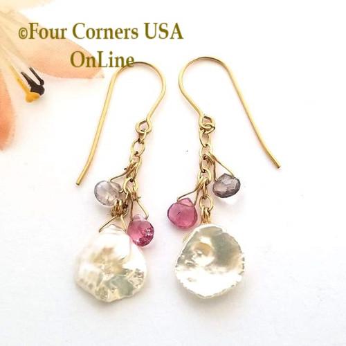 Keshi Pearl Faceted Tourmaline 14K Gold Filled Dangle Pierced Earrings Four Corners USA Artisan Jewelry