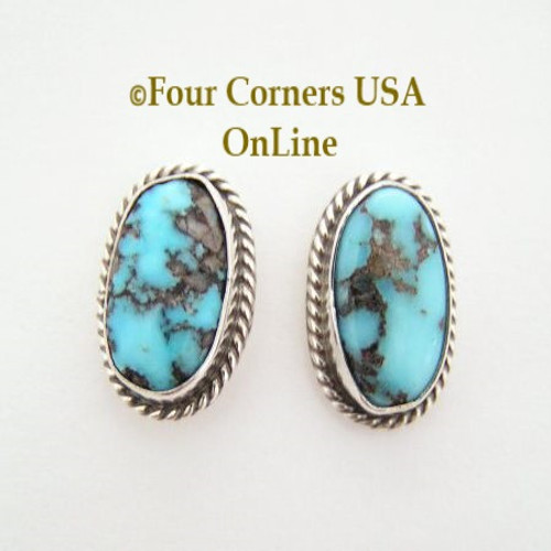 Blue Persian Turquoise Oval Post Sterling Earrings Navajo Bonnie Sandoval On Sale Now NAER-09040 Four Corners USA OnLine Native American Silver Jewelry