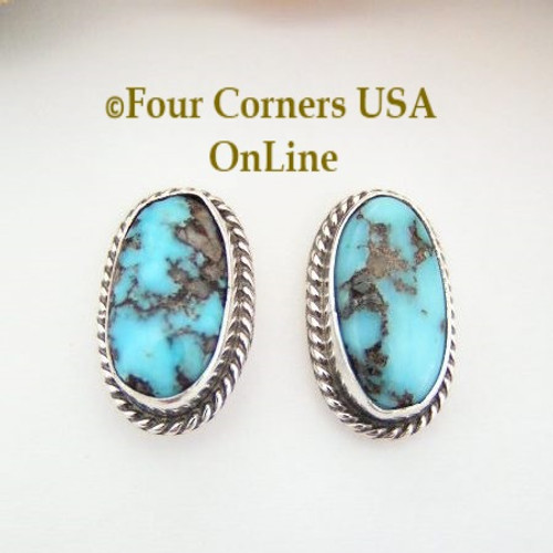 Persian Blue Turquoise Oval Post Sterling Earrings Navajo Bonnie Sandoval NAER-09040 Four Corners USA OnLine Native American Silver Jewelry