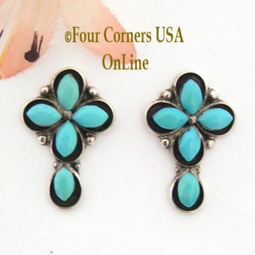 Turquoise Shadowbox Cross Post Pierced Earrings Four Corners USA OnLine Native American Silver TQ Jewelry FCE-09035
