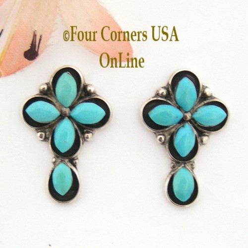 Turquoise Shadowbox Cross Post Pierced Earrings On Sale Now Four Corners USA OnLine Native American Silver TQ Jewelry FCE-09035