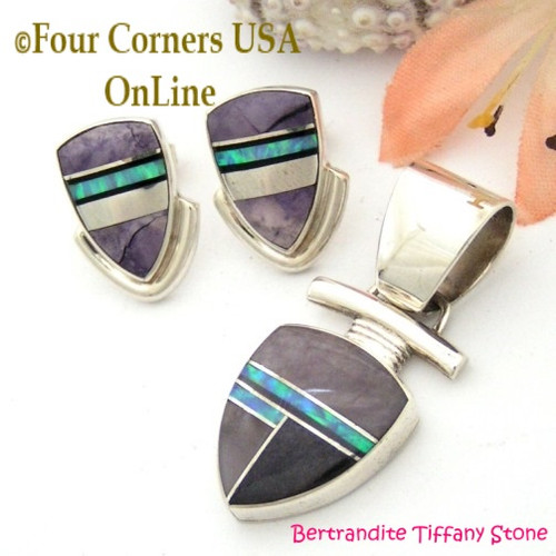 Bertrandite Tiffany Stone Fire Opal Fine Inlay Pendant Post Earrings Set Navajo Silver Jewelry NAER-09088 Four Corners USA Online Native American Jewelry