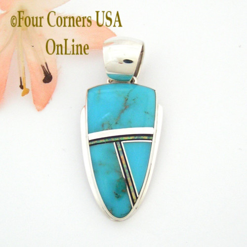 Turquoise Opal Onyx Inlay Sterling Pendant Navajo Artisan John Charley Four Corners USA OnLine Native American Silver Jewelry NAP-09349