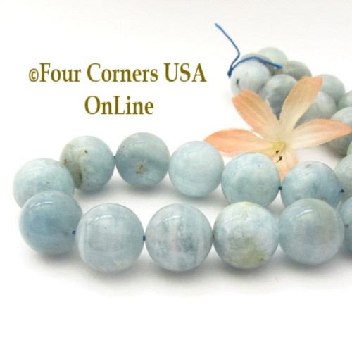 Aquamarine 16mm Smooth Round Beads Designer Strand #5 Jewelry Making Supplies Four Corners USA OnLine G-AQR-10016-5