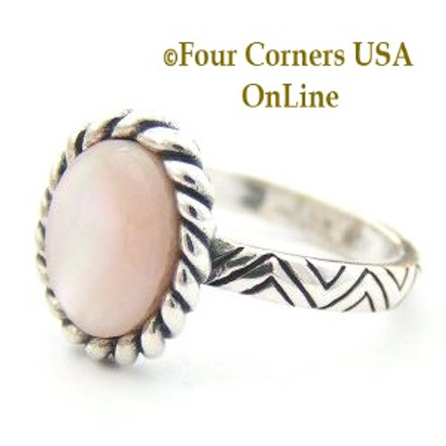Size 6 1/2 Pink Mother of Pearl Rope Design Sterling Silver Ring Closeout Final Sale Four Corners USA OnLine Jewelry Store