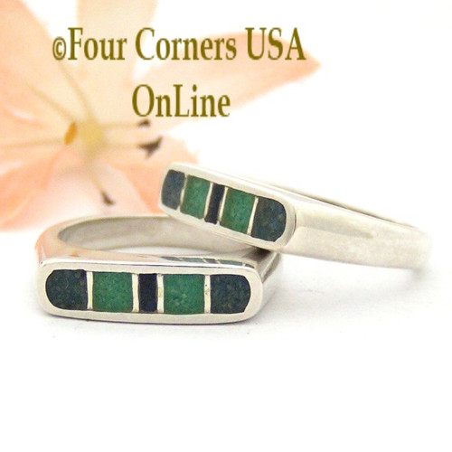 Size 5 Southwest Sterling Stack Ring Channel Chip Turquoise Lapis Inlay Style Made in USA Closeout Final Sale