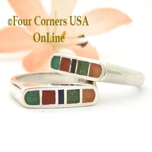 Size 5 Southwest Multi Color Sterling Stack Ring Channel Chip Inlay Style Closeout Final Sale