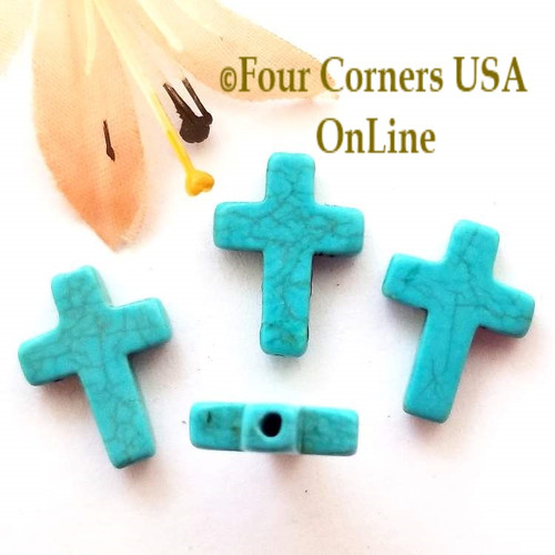 Blue Turquoise Color Magnesite Cross Beads 10 Pieces ST-09029 Closeout Final Sale Four Corners USA OnLine Jewelry Making Beading Craft Supplies
