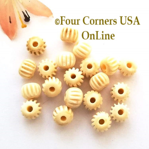 Faux Carved Bone Resin 8mm Pumpkin Beads O-09025 Four Corners USA OnLine Jewelry Making Beading Craft Supplies