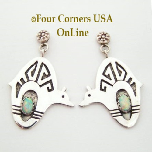 Contemporary Cutout Bear Sterling Silver White Fire Opal Post Dangle Earrings Four Corners USA OnLine Native American Jewelry Closeout Final Sale NAER-09100