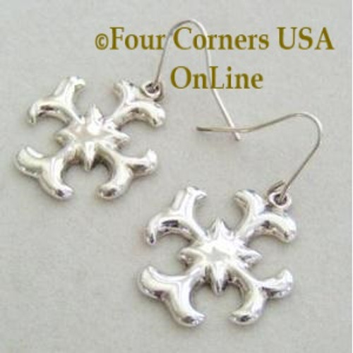 Fleur de lis Motif Native American Navajo Linda Marble Tufa Sterling Silver Earrings On Sale Now NAER-09108 Four Corners USA OnLine Artisan Handcrafted Jewelry