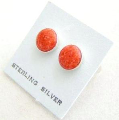 Coral Chip Sterling Silver Stud Post Pierced Earrings (FCE-09046)