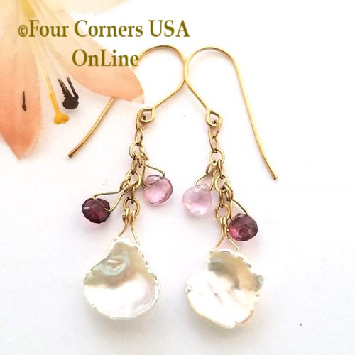 Keshi Pearl Faceted Purple Tourmaline 14K Gold Filled Dangle Pierced Earrings FCE-09027-P Four Corners USA Artisan Jewelry