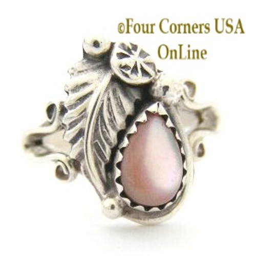 Pink Mother of Pearl Shell Sterling Silver Leaf Ring Size 5 Four Corners USA OnLine Native American Navajo Silver Jewelry NAR-09475
