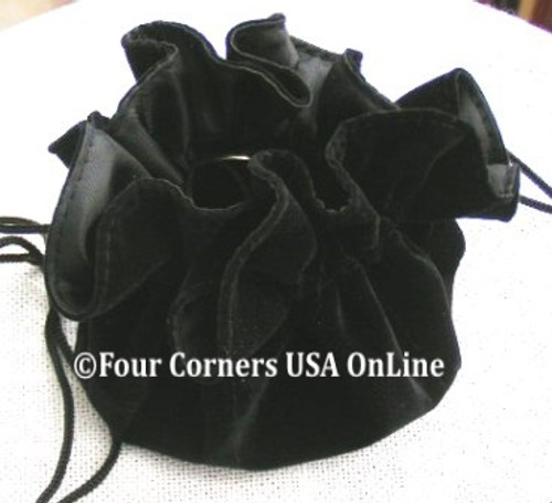 Black Velvet Drawstring Jewelry Pouch 6 Inside Pockets Four Corners USA OnLine SP-09015