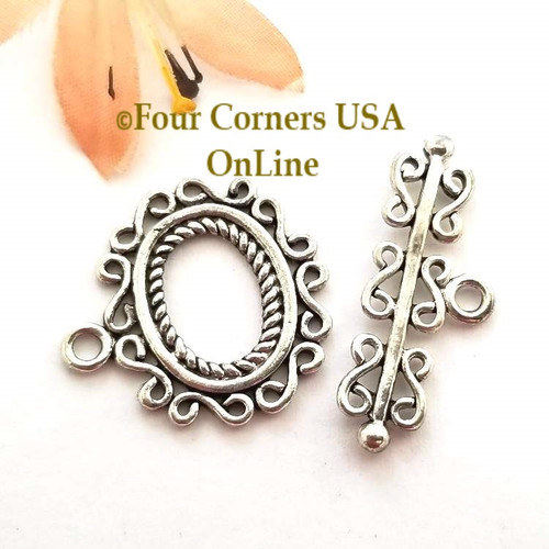 Fancy Filigree Silver Plated Large Toggle Clasp Sold 5 Clasp Package Four Corners USA OnLine Jewelry Making Beading Craft Supplies