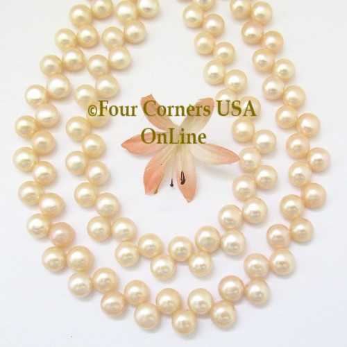 Top Drilled 9mm Button Natural Peach Freshwater Pearl Bead Strands Closeout Final Sale BDS-16014 Four Corners USA OnLine Jewelry Making Beading Crafting Supplies