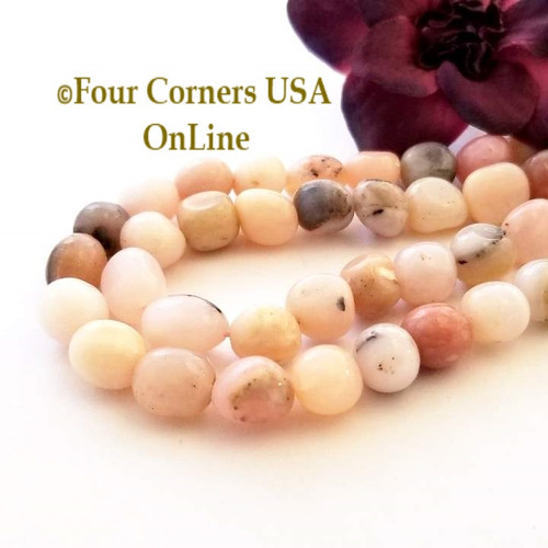 Natural Peruvian Pink Opal Tumbled 10mm Bead Strands Four Corners USA OnLine Jewelry Making Beading Craft Supplies