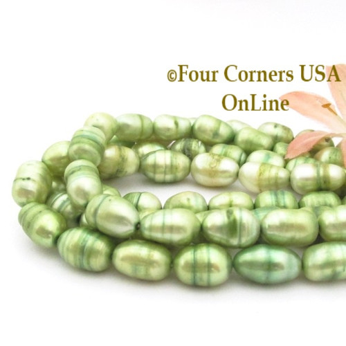 Bright Green Freshwater Pearl 16 Inch Bead Strands Four Corners USA OnLine Jewelry Making Supplies P-LR-09026