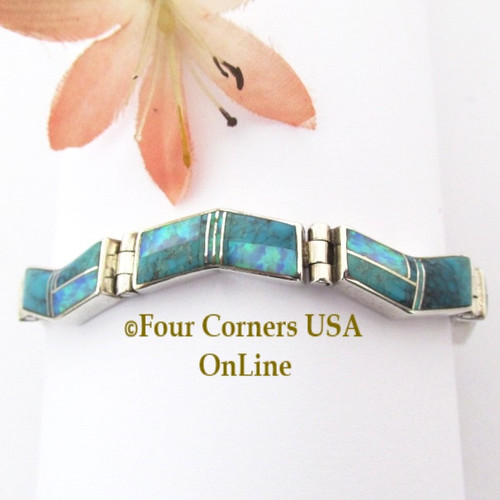 On Sale Now Turquoise Fire Opal Link Bracelet Navajo Kenneth Bitsie Contemporary Fine Inlay Native American Jewelry Four Corners USA OnLine NALB-09468