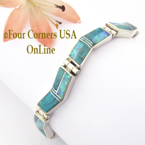 Turquoise Fire Opal Link Bracelet Navajo Kenneth Bitsie Contemporary Fine Inlay Native American Jewelry Four Corners USA OnLine NALB-09468
