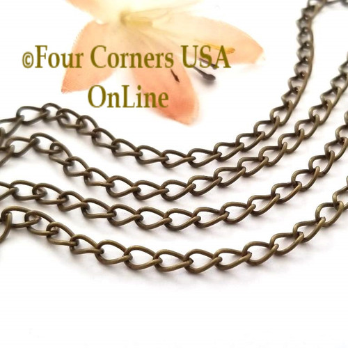 5mm Smooth Twisted Cable Antiqued Brass Steel Chain 10 ft Pack Closeout Final Sale Four Corners USA OnLine Jewelry Making Beading Craft Supplies