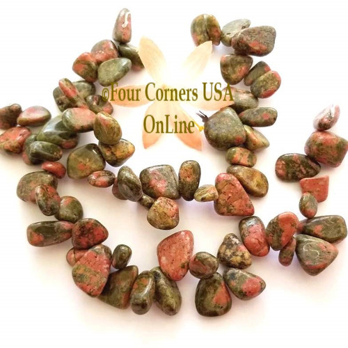 Unakite Watermelon Top Drilled 8 inch Bead Strands GEM-101005 Closeout Final Sale Four Corners USA OnLine Jewelry Making Beading Craft Supplies
