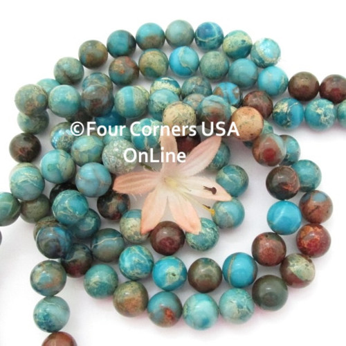 Blue Aqua Terra Jasper 12mm Round 16 Inch Bead Strands Four Corners USA OnLine Jewelry Making Beading Craft Supplies