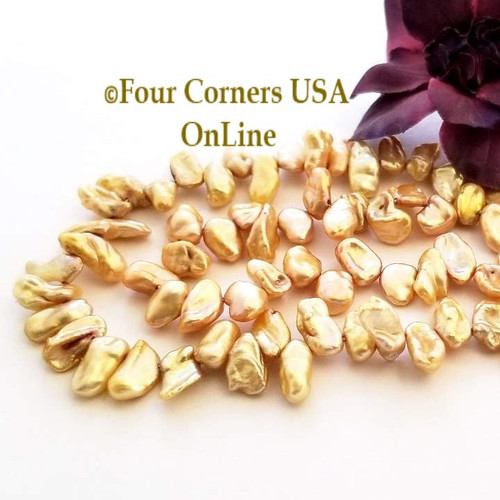 Goldtone Keshi Top Drilled Freshwater Pearl Bead Strand Four Corners USA OnLine Jewelry Making Beading Craft Supplies