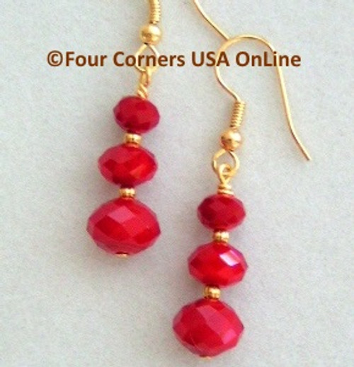 Red Velvet Crystal Gold over Surgical Steel Earrings EAR-09077 Four Corners USA OnLine American Artisan Handcrafted Jewelry