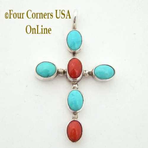 Turquoise and Coral Native American Navajo Handcrafted Sterling Silver Cross On Sale Now Four Corners USA OnLine Jewelry Store NACR-09112