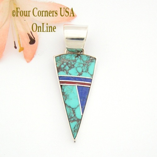 Spiderweb Turquoise Coral Lapis Fine Inlay Pendant John Charley Native American Navajo Silver Jewelry On Sale Now NAP-09356 Four Corners USA OnLine Shopping